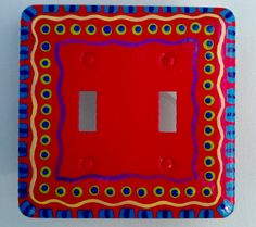 double lightswitch cover painted on acrylic on the back and hardware