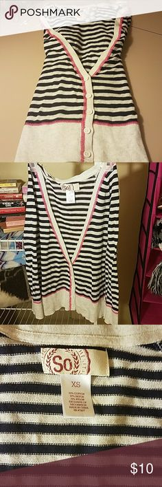 SO Striped Cardigan Cute light weight button down cardigan. It has blue and white stripes with pink stitching! SO Sweaters Cardigans