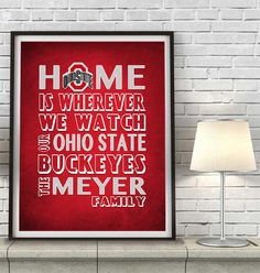 "Ohio State Buckeyes inspired Personalized Customized Art Print- ""Home Is"" Parody- Retro, Vintage-  Unframed Print"