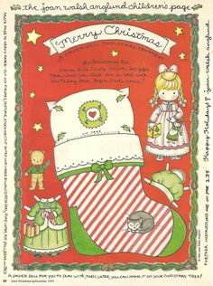 """Paper Doll Christmas Ornament from """"Good Housekeeping Magazine"""" by Joan Walsh Anglund"""