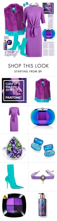 """""""Colour of the Year is 'Ultra Violet'"""" by ellie366 ❤ liked on Polyvore featuring Alberta Ferretti, Ralph Lauren Collection, Jeffrey Levinson, Effy Jewelry, Ippolita, Balenciaga, L'Oréal Paris, dresses, balmain and citychic"""