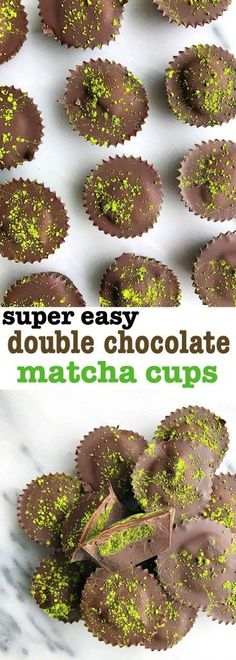 Super Easy Double Chocolate Matcha Cups! Vegan and gluten-free chocolate matcha cups for an easy and delicious matcha-filled dessert. So easy to make!