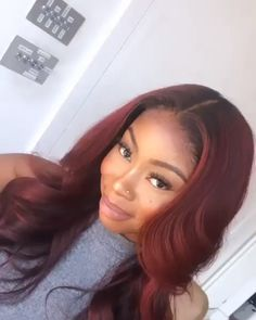 Type: Lace Front Wig Brazilian Virgin Human Hair Model Length& Density: & Bleached Knots & Plucked: Yes Straps: Add extra detachable band, very stable on head Burgundy Hair Black Girl, Girls With Red Hair, Burgundy Color, Color Red, Red Weave Hairstyles, Red Hair With Blonde Highlights, Curly Hair Styles, Natural Hair Styles, Red Wigs