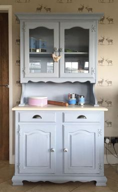 Kitchen Glazed Dresser Painted Blue Welsh Cabinet French Country Glass Rustic