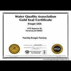 WQA Gold Seal Certificate of Compliance