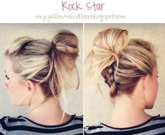 Perfect messy hair... Just pull your hair half-up, flip your head upside down, dutch braid up the back, and finish with a messy ponytail.