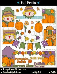 Fall Frolic Clip Art, Commercial Use, Clipart, Digital Image, Png, Graphic, Digital, Instant Download, Autumn, Scarecrow, Pennant Banner by ResellerClipArt on Etsy
