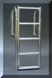 5 Step Vertical Lift Aluminum Dock Ladder ~ Dock Accents, Inc. Retractable Ladder, Dock Ladders, Lakefront Property, Boat Lift, Rustic Design, Boathouse, Ladder Decor, Decks, Loft