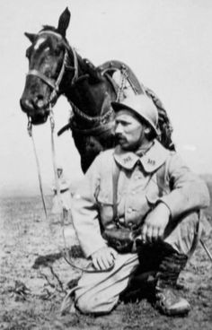 WWI, French poilu and his horse.