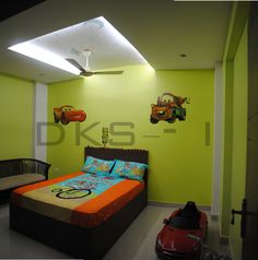 Kids Bedroom With Neon Lights Design By Architect Karthikeyan Perumal India