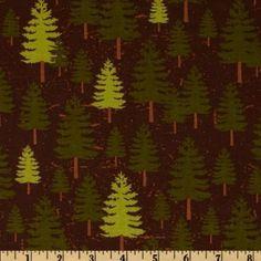 Amazon.com: 44 Wide Riley Blake Elk Ridge Pine Trees Brown Fabric By The Yard: Arts, Crafts & Sewing #schenanigans #mooseknuckle #cabin #lakearrowhead