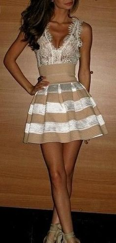 Latest fashion trends: Women's fashion | Striped high waist skirt and lace top