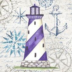Lighthouse 4 Purple Stripe by Elena Vladykina   Ruth Levison Design