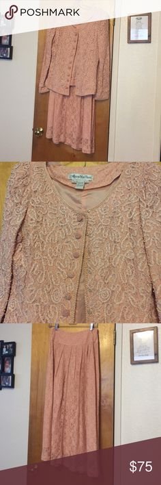 Like new skirt suit Beautifully detailed fully lined pink lace jacket with pearl details and pearl buttons. Full length fully lined matching pink lace skirt. Just stunning! Marie St. Claire Skirts Skirt Sets