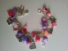 Pink and purple I Love Cats  charms bracelet by LoveHeartsRainbows