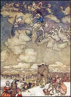 Arthur Rackham - Illustrations from Book of Pictures 1913 Arthur Rackham, Victorian Books, Vintage Books, Classic Fairy Tales, Edmund Dulac, Jack Frost, Faeries, Golden Age, Illustration Art