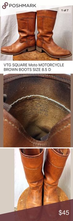 Vintage Leather MOTO Mens Boots 8.5 D Great VINTAGE MOTO Motorcycle BIKER BOOTS  Vintage Sears Leather BOOTS  8.5 D  the soles are in wonderful shape for the age of the boots Vintage Shoes Boots #mensboots #vintagemotorcycles