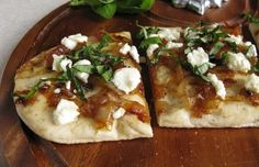 Goat cheese, Caramelized onions, and basil flatbread... YUM