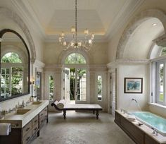 Traditional Master Bathroom with Undermount Sink, Master bathroom, Chandelier, Inset cabinets, Cleo Chaise Lounge