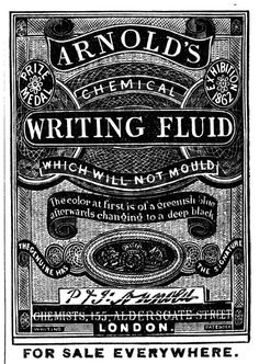 Vintage/antique ad for Arnold's Writing Fluid. Vintage Ads, Vintage Designs, Vintage Antiques, Survival Project, Writers Write, Vintage Typography, Antique Stores, Historical Fiction, Ephemera