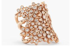 Trend tracking: rose gold. Suel created this 18-karat blackened pink gold ring with 0.16 carat of teal-colored diamonds.