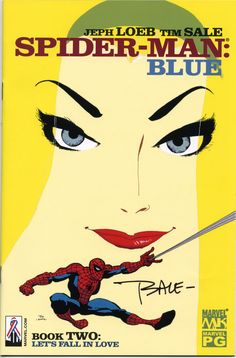 Spider-Man: Blue #2, the best cover of the limited series, imo. Signed by artist Tim Sale. <3  I used to have all of these covers as posters!  Why oh why did I get rid of them?!