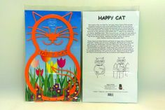 Happy Cat Garden Stakes in final packaging.  Where's your Happy Cat?  www.Etsy.com/shop/happycatshops