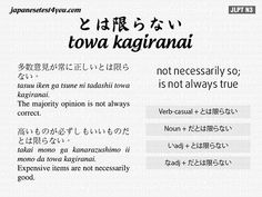 Learn Japanese Grammar JLPT N3 Flashcard