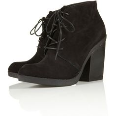 AFLY Lace Up Block Heel Boots ($140) ❤ liked on Polyvore featuring shoes, boots, ankle booties, heels, ankle boots, zapatos, leather ankle boots, black leather ankle booties, black ankle boots and black leather bootie