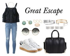 """""""Great Escape"""" by anaelle2 ❤ liked on Polyvore featuring adidas Originals, Cole Haan, Letters By Zoe, Frame Denim, Maison Margiela, Chalayan, C. Wonder, Cutler and Gross, Givenchy and Cartier"""
