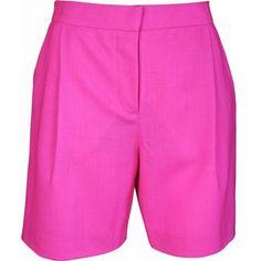 Plakinger Fuchsia Wool Bermuda Shorts ($346) ❤ liked on Polyvore featuring shorts, fuchsia, wool shorts, long bermuda shorts, long shorts, knee length bermuda shorts and tailored shorts