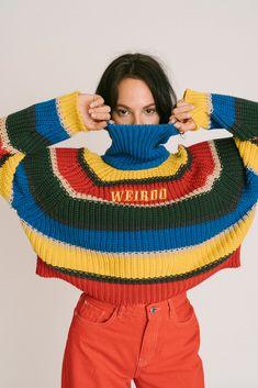 fa62816462 𝕎𝕖𝕚𝕣𝕕𝕠 •Minga London Fall Striped Jumper• 90s Teen Fashion