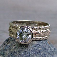 Forever Brilliant Moissanite and Recycled 14k White Gold Stacked Engagment Ring and Wedding Band Set by McFarland Designs