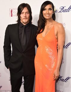 Teaming up: Norman Reedus teamed up with Padma for a picture on the red carpet for the EFA Blossom Ball.