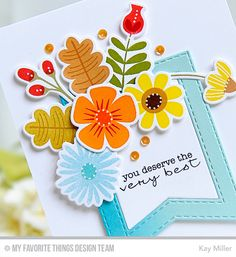 Card by Kay Miller (091915) [My Favorite Things (dies) Die-Namics Fall Florals, Stitched Fishtail Frames; (stamps) Fall Florals, LJD Delicate Pretty Poppies]