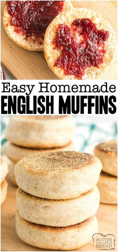 Homemade English Muffins are so simple to make that youll never want to buy store-bought again. Fluffy English muffin recipe full of nooks and crannies! Youll love everything from the smell to the textures and flavors. from BUTTER WITH A SIDE OF BREAD English Muffin Recipes, Homemade English Muffins, English Food, Homemade Muffins, English Muffin Breakfast, English Desserts, English Muffin Bread, Homemade Recipe, Breakfast Muffins
