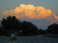 Sunset cumulus clouds