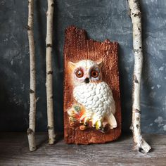 Vintage Owl Wall Plaque 1970's Chalk Ware Owl Wall Hanging, White Owl... ($26) ❤ liked on Polyvore featuring home, home decor, wall art, white wall art, plaster wall art, owl home decor, white home decor and owl home accessories
