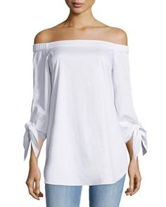 Tie-Sleeve Poplin Off-the-Shoulder Tunic, White by Tibi at Bergdorf Goodman.