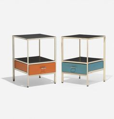 George Nelson & Associates Steelframe nightstands, pair Herman Miller USA, 1950 laminate, enameled steel, lacquered w. on Feb 2015 Mod Furniture, Furniture Design, George Nelson, Life Design, Spring Home, Mid Century Modern Design, Interior And Exterior, Exterior Design, Mid-century Modern