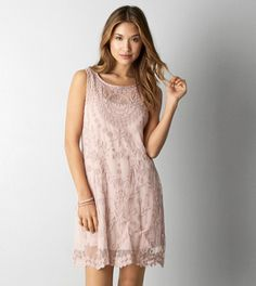 Grey AEO Layered Embroidered Dress