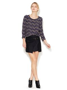 Pleated Wool Leather Buckle Skirt by Maje on Gilt.com