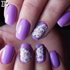 Stunning ideas for manicure for spring and summer with floral motifs. Manicure with flowers and other decorative elements with spring motifs will look great in Purple Nail Art, Pretty Nail Art, Beautiful Nail Art, French Acrylic Nails, French Nails, Nail Swag, Nail Polish Designs, Nail Art Designs, Nail Manicure