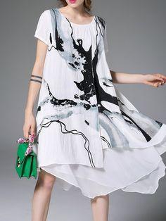 White Abstract Elegant Asymmetric Midi Dress Boho Fashion 6d2bce6cf641