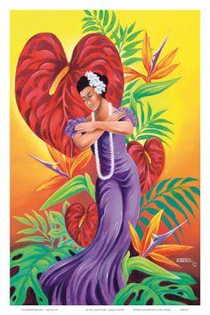 To You, Sweetheart, Hawaiian Hula Dancer Print by Warren Rapozo at Art.com Hawaiian Art, Hawaiian Tattoo, Hawaiian Leis, Hawaiian Dancers, Polynesian Art, Polynesian Culture, Hula Dancers, Hula Girl, Dance Art