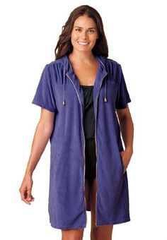 8aba4f4c0e1 Woman Within Plus Size Hooded terry swimsuit coverup  29.99 Plus Size Cover  Up