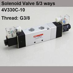 "13.95$  Watch here - http://alijms.shopchina.info/go.php?t=32808544629 - ""G3/8"""" 4V330C-10 3 Position 5 Way Air Solenoid Valves Pneumatic Control Valve , DC12v DC24v AC 24V AC110v 220v""  #SHOPPING"