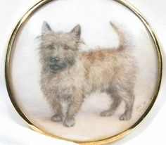 Images of Antique Portrait Miniature on Ivory of a Dog - The Three Graces  It's a Cairn!