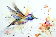 HUMMINGBIRD & FLOWER Abstract Watercolor Print by DeanCrouserArt