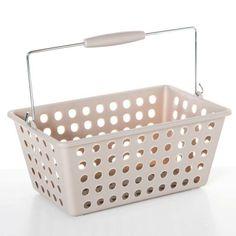 Disponible sur Boutiquedubain.com Panier de Rangement Avec Anse Plastique Taupe